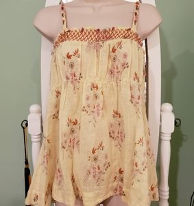 Free People Floral Yellow Linen Tie Tank Top Large